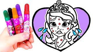 Dibuja y Colorea a la Princesa Sofía enfermita 👸🎨Vídeos para niños.