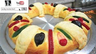 Cómo hacer la tradicional rosca de reyes, paso a paso, te quedará perfecta! :d charola mide 46 cms diámetro. puedes con batidora, siempre y cu...