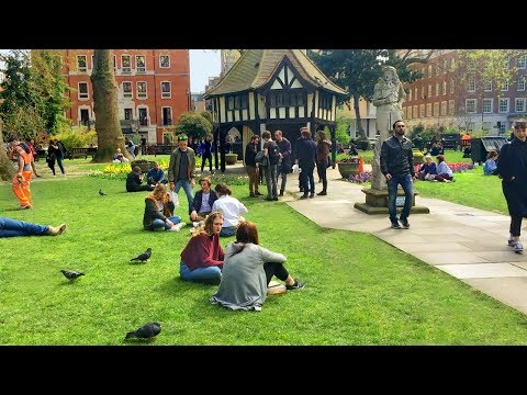 London Walk - Golden Square to Soho Square via Rupert Street Food Market - England, UK