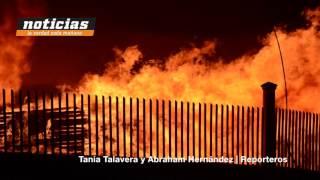 Infernal incendio en el Parque Industrial Bernardo Quintana.