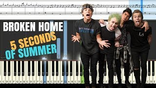 BROKEN HOME - (5 Seconds of Summer) Piano Tutorial // SYNTHESIA Cover + MIDI & SHEETS