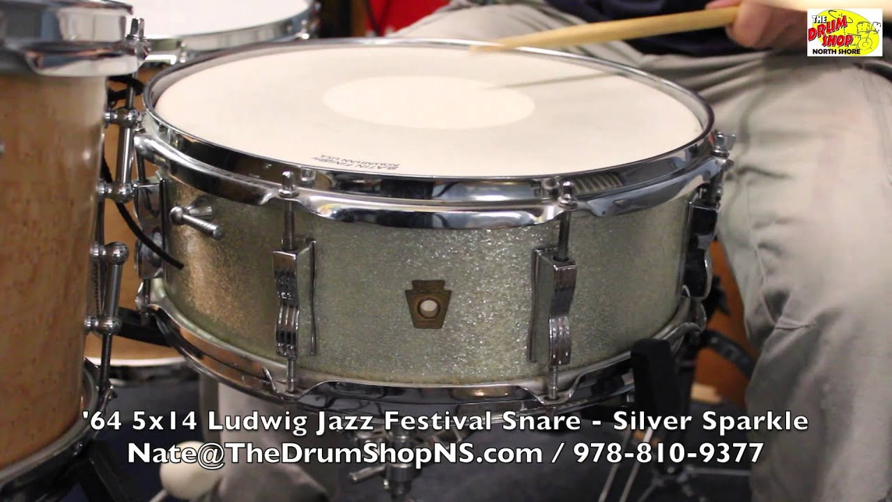 39 64 ludwig jazz festival snare drum 5x14 silver sparkle the drum shop north shore youtube. Black Bedroom Furniture Sets. Home Design Ideas