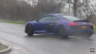 Audi R8 V10 MEGA powersliding in the rain !!!
