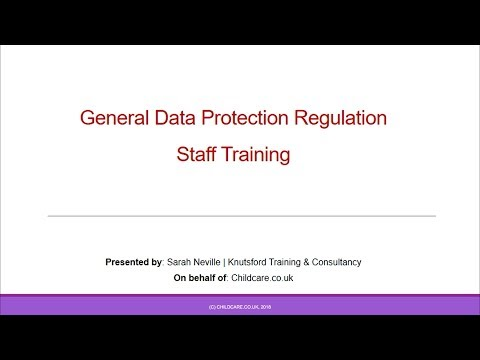 GDPR Staff Training for Childminders & Early Years Settings