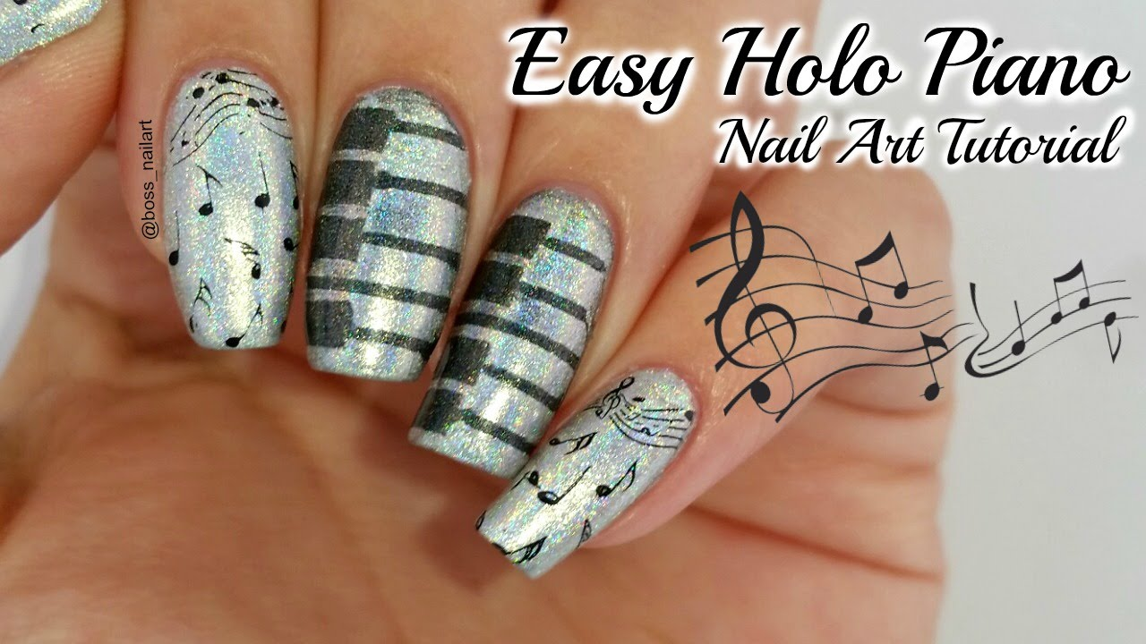 Holo Piano Nails Easy Nail Art Youtube