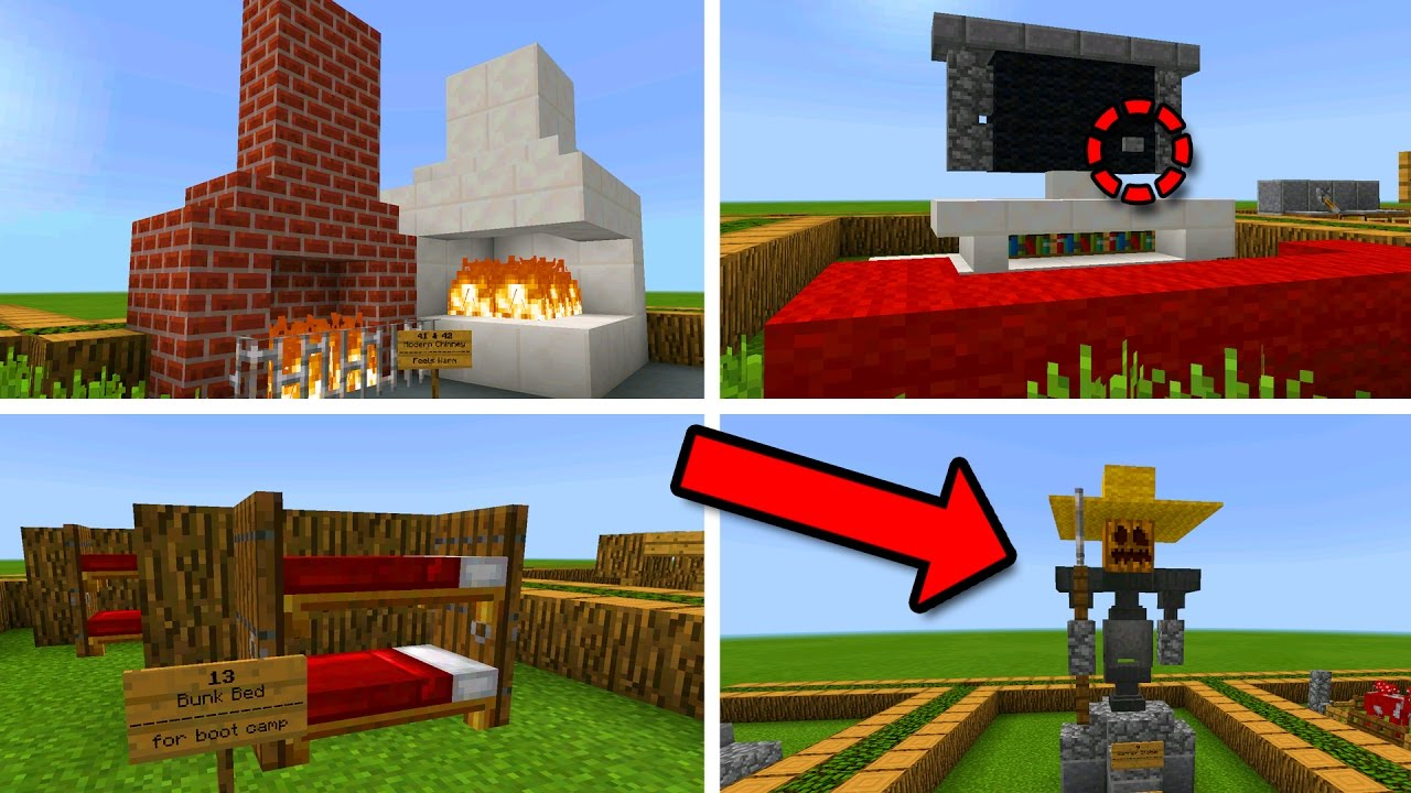 50 AMAZING DECORATION IDEAS in Minecraft Pocket Edition ...