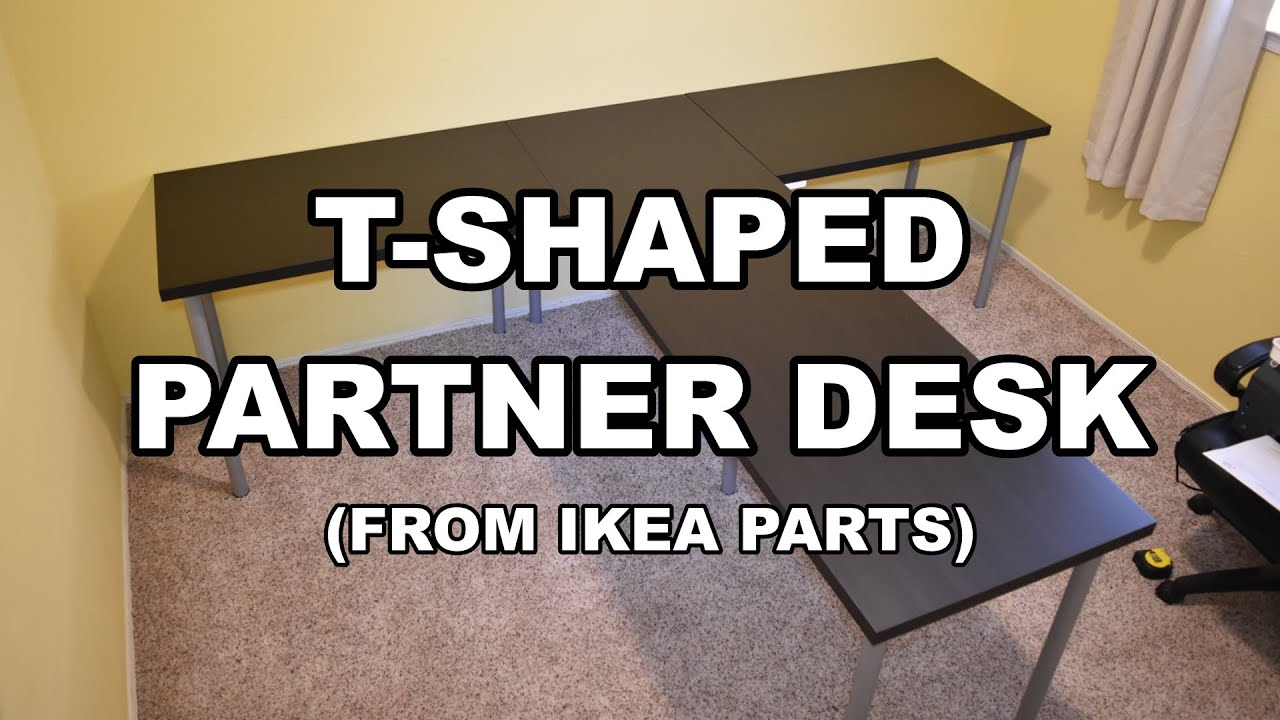 TShaped Partner Desk from IKEA Parts  YouTube