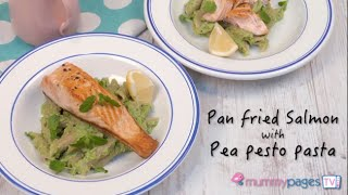 Pan Fried Salmon with Pea Pesto Pasta
