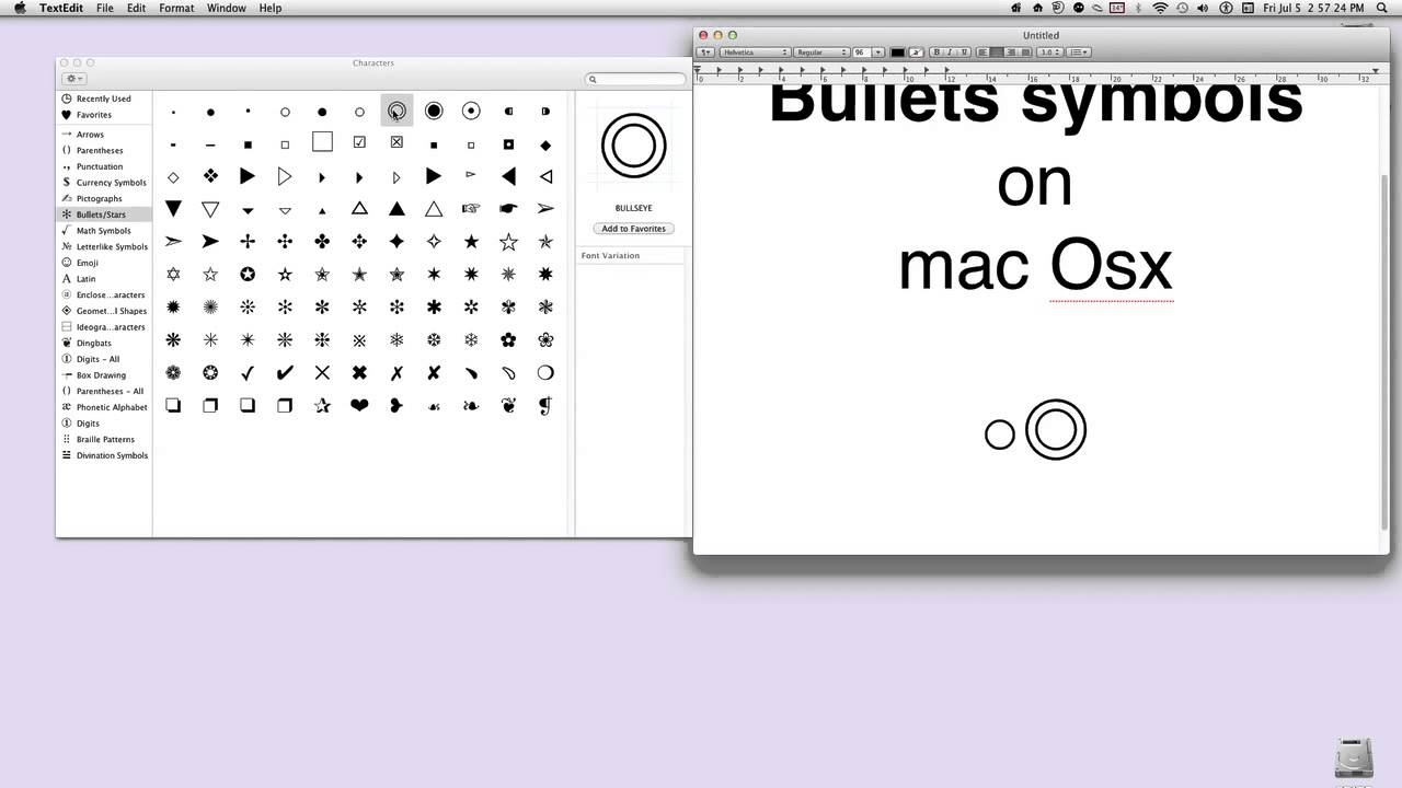 How to get bullets symbols on mac osx youtube how to get bullets symbols on mac osx biocorpaavc Choice Image