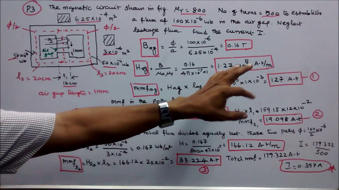 100 Problems In Electromagnetism Part 04 Five Circuit Diagram Numericals Parallel Magnetic Circuits