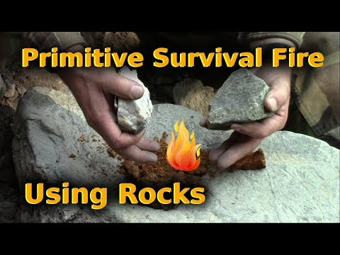 Primitive Survival Fire Using Only Rocks