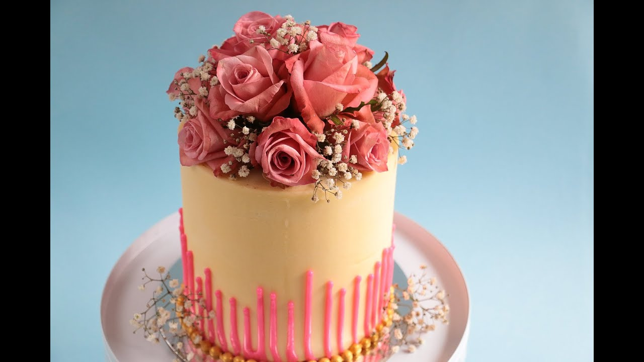 Cake Decoration Fresh Flowers : Perfect straight edges- Fresh Flower Bouquet Cake Tutorial ...