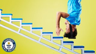 He climbs stairs with his HEAD! - Guinness World Records