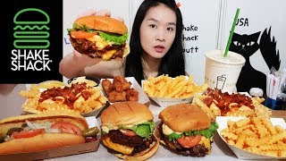 SHAKE SHACK FEAST! Shack Burger Double Cheeseburger, Shack Stack, Fries & Milkshake - Mukbang w Asmr