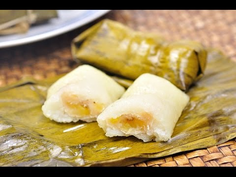 Sweet Sticky Rice in Banana Leave (Thai Dessert) - Kao Tom Mud ข้าวต้มมัด [4K]