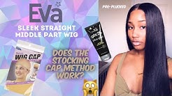 MY FIRST STRAIGHT WIG FROM EVA WIGS | SLEEK MIDDLE PART! USING THE STOCKING CAP METHOD