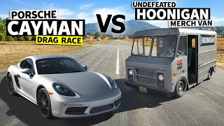 homepage tile video photo for Brand New Porsche Cayman VS the Hoonigan Undefeated Merch Van // This vs That
