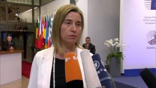 European Council - Departure doorstep by Federica Mogherini