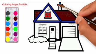 How to Draw House Coloring Pages for kids | cute house coloring page for children | coloring Video