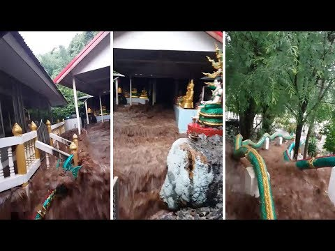 Flash Floods Hit Buddhist Temple After Monsoon Rain