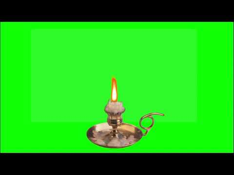 Candle Flame Green Screen Animation / Футаж Свеча пламя горит