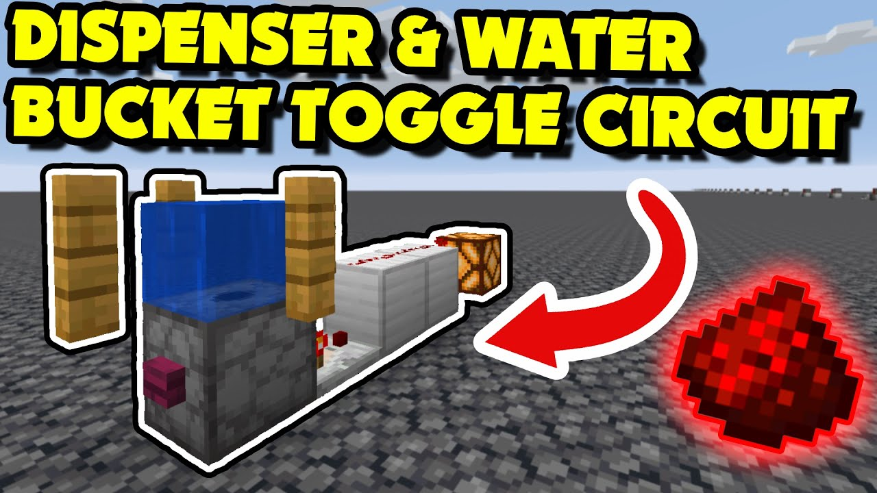 HOW TO MAKE A DISPENSER & WATER BUCKET TOGGLE CIRCUIT (Minecraft Redstone  Tutorial)