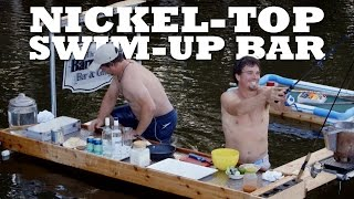 SWIM-UP BAR:  Nickel-Top  Bar with BBQ and Rod Holders