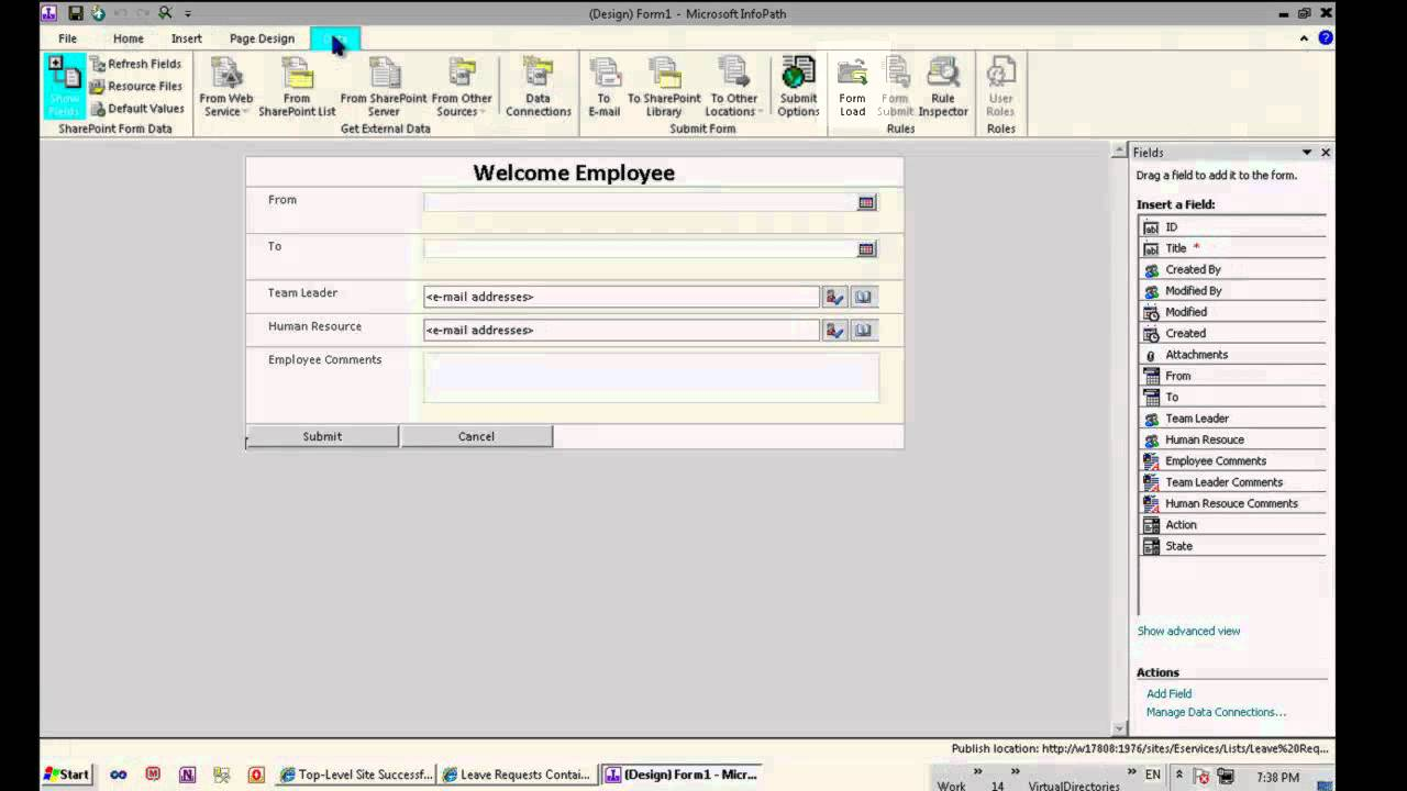 3 implementing workflow using infopath 2010 and for Free infopath templates