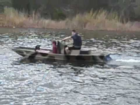 Jet ski jon youtube for Jon boat with jet motor