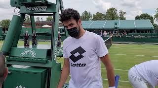 Berrettini court level practice Wimbledon 2021