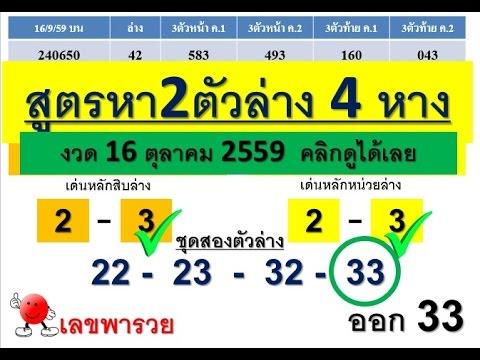 เลขพารวย เลขเด่นสองตัวล่าง 4 หางเท่านั้น พร้อมสูตร งวด 16 ตุลาคม 2559 ..ขอให้ถูกหวย..รวยๆๆๆ!!