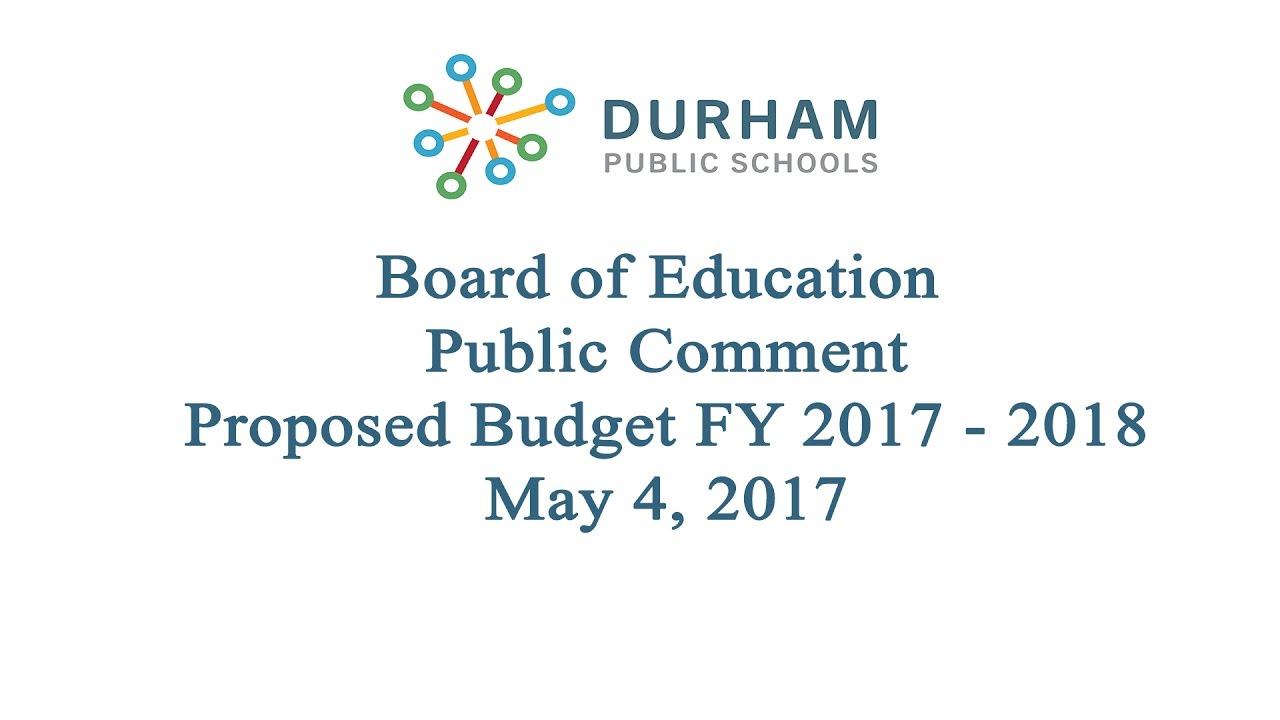 Durham Public Schools Public Comments Superintendent Search May 4