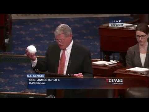 Science: Senator James Inhofe throws a snowball to prove climate change is a hoax