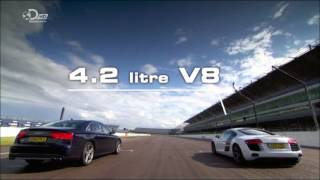 2013 Audi S8 VS Audi R8 V8 1/4 mile