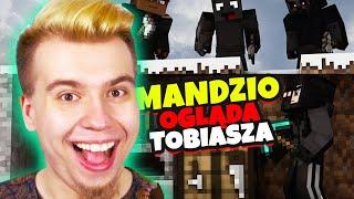 MANDZIO ogląda TOBIASZ vs 3 ŁOWCÓW (minecraft speedrun)
