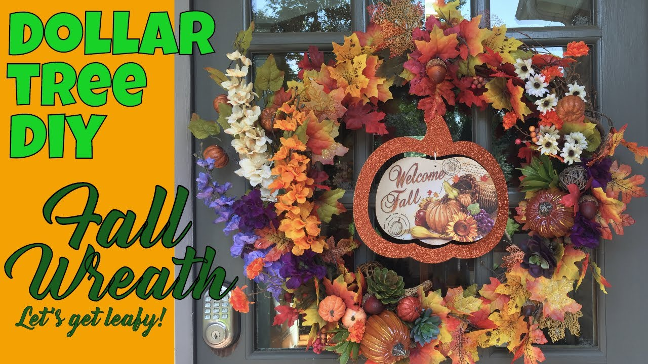 Dollar Tree DIY Fall Wreath: Letu0027s Get Leafy **LARGE Front Door Wreath**  DIY FALL WREATH