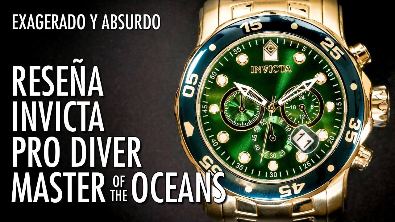 diseño atemporal 47903 a8694 Reseña Invicta 0075 Pro Diver Master of the Oceans Gigante de Buceo Reloj  en Español