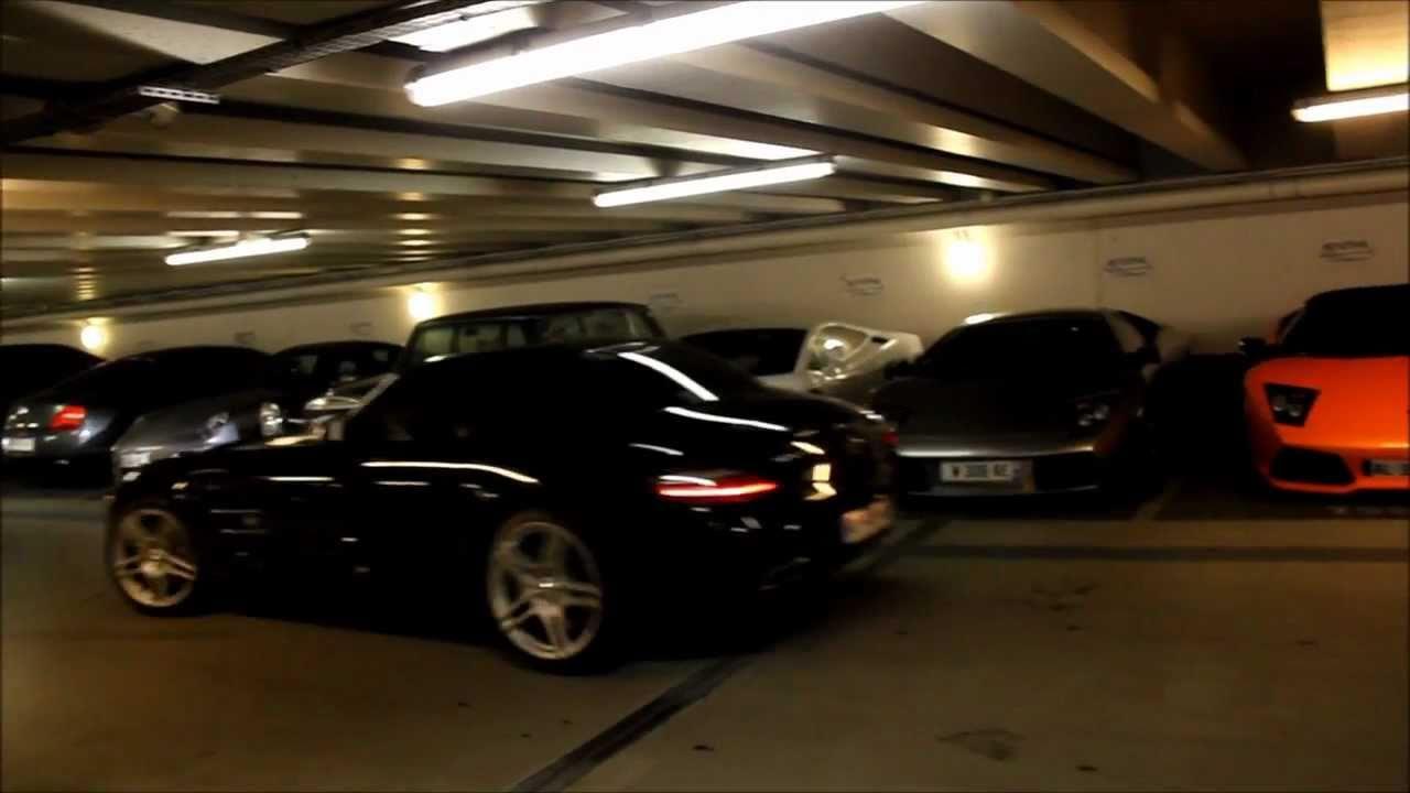 Mercedes benz sls amg great sounds in parking garage for Garage mercedes paris 17 rue cardinet