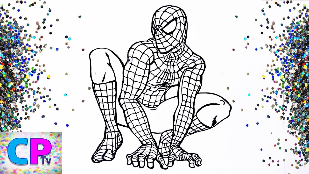 Glitter Spiderman Coloring for Kids 1, Glitter Spiderman Coloring Pages  Kids Fun