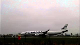 Finnair Airbus A-340-311 Landing in Tallinn
