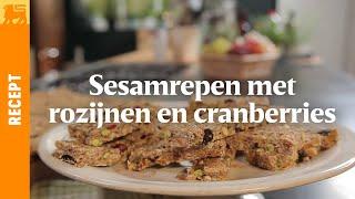 Sesamrepen met rozijnen en cranberries
