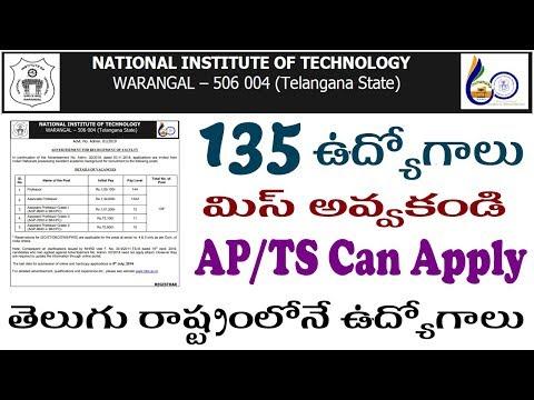 Warangal NIT Recruitment 2019 Notification in telugu how to apply NIT warangal Online Application