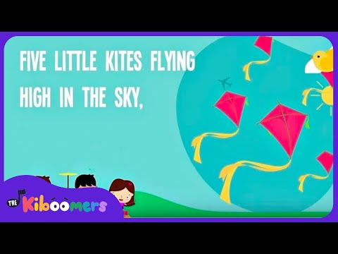 Five Little Kites | Kids Song | Lyrics | Spring | Nursery Rhyme | Numbers and Counting