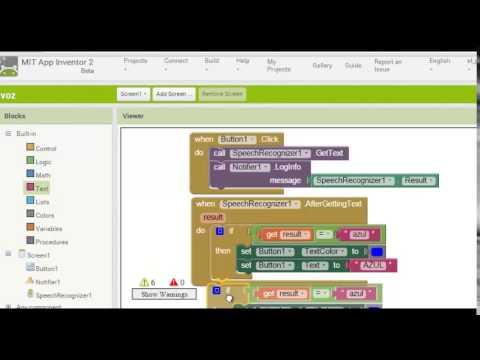 Reconocimiento de Voz, crear Aplicacion (App Inventor)