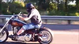 Harley-davidson Rocker - Lulay's Custom On The Highway In Front Of River