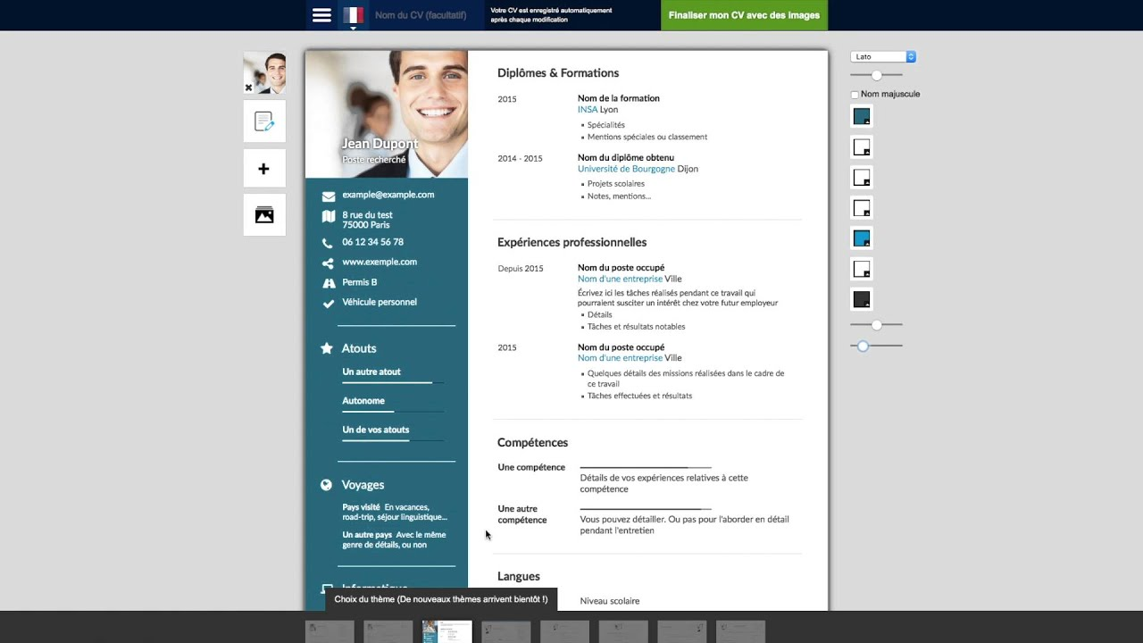 outils de creation de cv design pdf gratuit