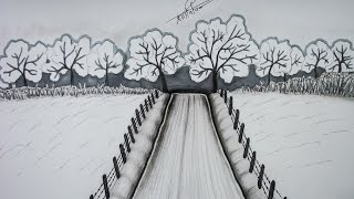 تعليم الرسم بالرصاص | رسم منظر طبيعي للمبتدئين خطوة بخطوة
