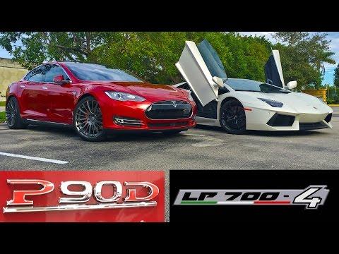 Tesla Model S P90D Ludicrous vs Lamborghini Aventador LP700-4 Drag Racing