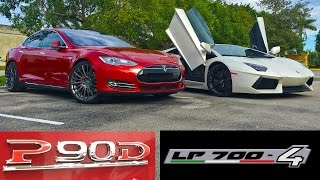 Tesla Model S P90D Ludicrous vs Lamborghini Aventador LP700-4 Drag Racing