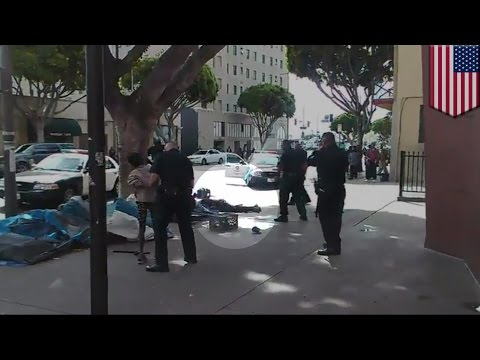 Police shooting video: LAPD use deadly force on homeless man on Skid Row